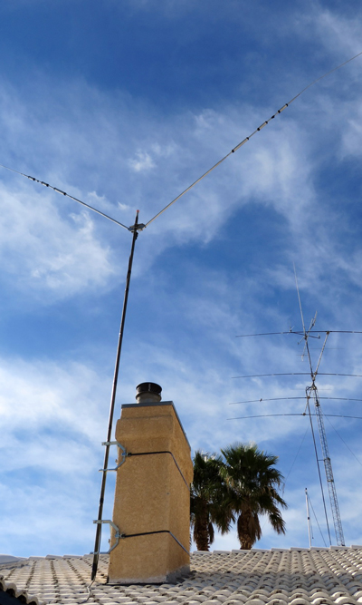 "Amateur Radio antenna on double 9"" stack strap chimney mount"